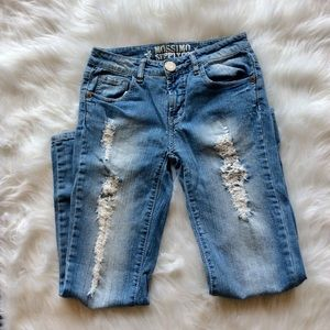 Distressed denim jeans ripped light wash size 1 XS